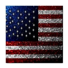 American Flag In Glitter Photograph Ceramic Tile