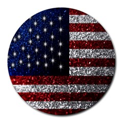 American Flag In Glitter Photograph 8  Mouse Pad (round)
