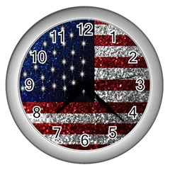 American Flag In Glitter Photograph Wall Clock (silver)