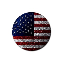 American Flag In Glitter Photograph Drink Coaster (round)
