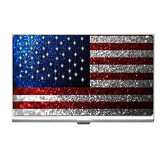 American Flag In Glitter Photograph Business Card Holder