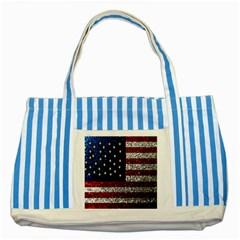 American Flag in Glitter Photograph Blue Striped Tote Bag