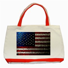 American Flag in Glitter Photograph Classic Tote Bag (Red)