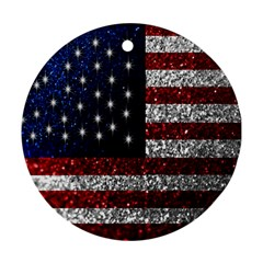 American Flag In Glitter Photograph Round Ornament (two Sides)