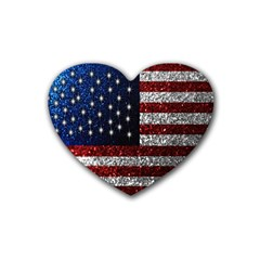 American Flag In Glitter Photograph Drink Coasters (heart)