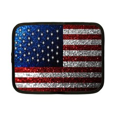 American Flag In Glitter Photograph Netbook Sleeve (small)