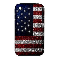 American Flag in Glitter Photograph Apple iPhone 3G/3GS Hardshell Case (PC+Silicone)