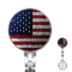 American Flag In Glitter Photograph Stainless Steel Nurses Watch