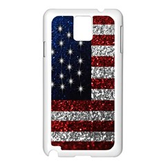 American Flag in Glitter Photograph Samsung Galaxy Note 3 N9005 Case (White)
