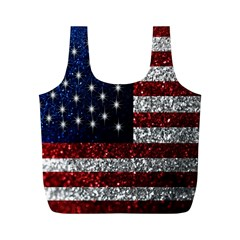 American Flag In Glitter Photograph Reusable Bag (m)