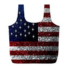 American Flag in Glitter Photograph Reusable Bag (L)