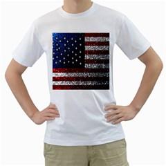 American Flag In Glitter Photograph Men s T Shirt (white)