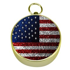 American Flag in Glitter Photograph Gold Compass