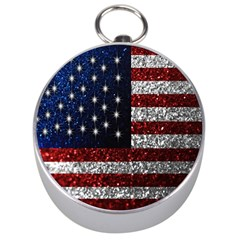 American Flag In Glitter Photograph Silver Compass