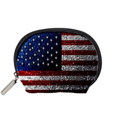 American Flag In Glitter Photograph Accessory Pouch (small)