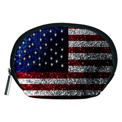 American Flag in Glitter Photograph Accessory Pouch (Medium)