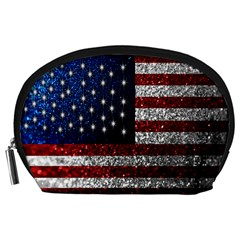 American Flag in Glitter Photograph Accessory Pouch (Large)