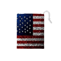 American Flag in Glitter Photograph Drawstring Pouch (Small)