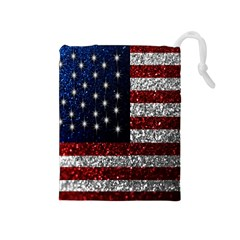 American Flag in Glitter Photograph Drawstring Pouch (Medium)