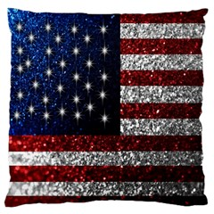 American Flag in Glitter Photograph Large Flano Cushion Case (One Side)