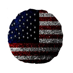 American Flag in Glitter Photograph 15  Premium Flano Round Cushion