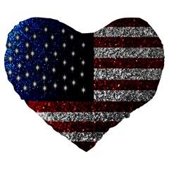 American Flag In Glitter Photograph 19  Premium Flano Heart Shape Cushion