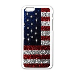 American Flag in Glitter Photograph Apple iPhone 6 White Enamel Case