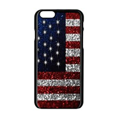 American Flag in Glitter Photograph Apple iPhone 6 Black Enamel Case