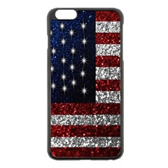 American Flag in Glitter Photograph Apple iPhone 6 Plus Black Enamel Case