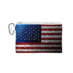 American Flag in Glitter Photograph Canvas Cosmetic Bag (Small)