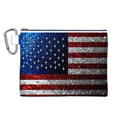 American Flag In Glitter Photograph Canvas Cosmetic Bag (large)