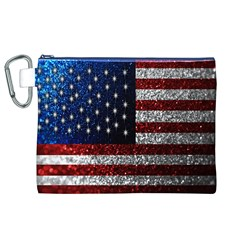 American Flag in Glitter Photograph Canvas Cosmetic Bag (XL)