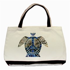 Peace Turtle Twin Sided Black Tote Bag