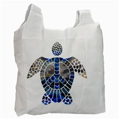 Peace Turtle White Reusable Bag (one Side)