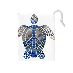 Peace Turtle Drawstring Pouch (Medium)