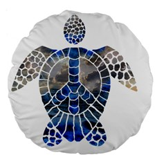 Peace Turtle 18  Premium Flano Round Cushion