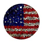 American Flag Mosaic Round Ornament Front