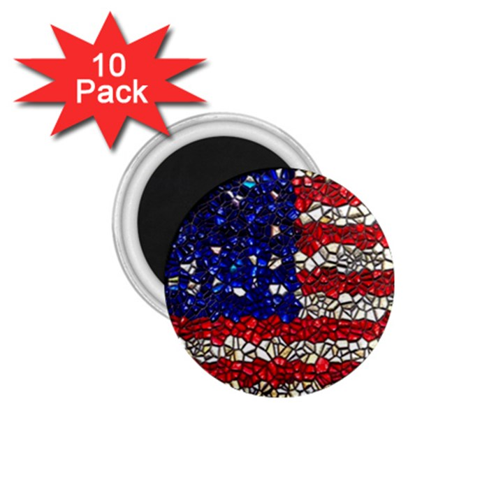 American Flag Mosaic 1.75  Button Magnet (10 pack)