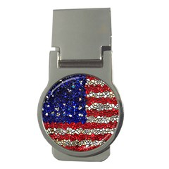 American Flag Mosaic Money Clip (round)
