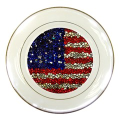 American Flag Mosaic Porcelain Display Plate