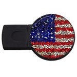 American Flag Mosaic 4GB USB Flash Drive (Round) Front