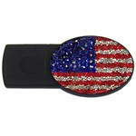 American Flag Mosaic 4GB USB Flash Drive (Oval) Front