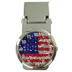 American Flag Mosaic Money Clip With Watch