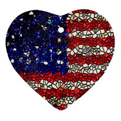 American Flag Mosaic Heart Ornament (two Sides)