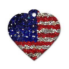 American Flag Mosaic Dog Tag Heart (two Sided)