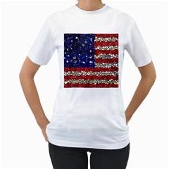 American Flag Mosaic Women s T-Shirt (White)