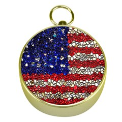 American Flag Mosaic Gold Compass