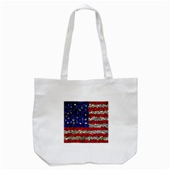American Flag Mosaic Tote Bag (White)