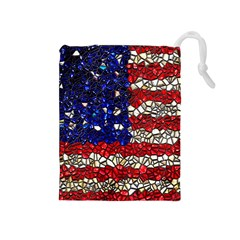 American Flag Mosaic Drawstring Pouch (Medium)