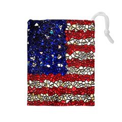 American Flag Mosaic Drawstring Pouch (Large)